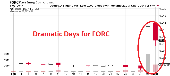 Force Energy Corp. (PINK:FORC) Reverses, Drops By A Third